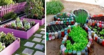 10 idee brillanti per rendere il vostro orto fiorito e variopinto come un giardino, utilizzando materiali riciclati