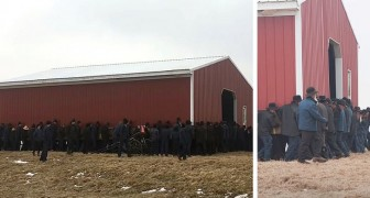250 Amish-Männer bauen von Hand eine riesige Scheune auf und tragen sie über 60 Meter weit