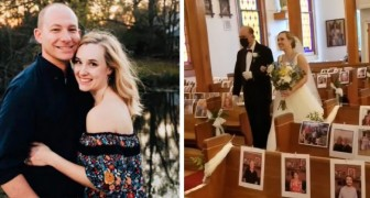 Se casan no obstante el Covid-19 e imprimen fotos de los invitados que no pueden estar presentes en la ceremonia