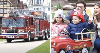 Un bimbo autistico termina la chemioterapia: i pompieri lo festeggiano con una parata tutta per lui