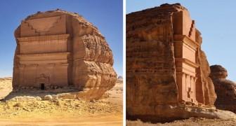 Qasr al-Farid, le très ancien tombeau creusé dans la roche qui apparaît au milieu du désert