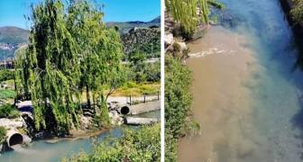 Le acque del fiume Sarno tornano ad essere nere e torbide poche ore dopo la fine del lockdown