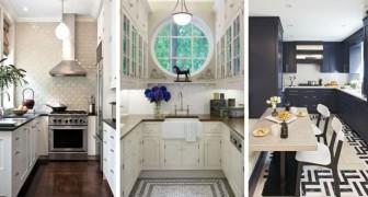 14 soluzioni accattivanti e funzionali per arredare con stile le cucine strette e lunghe