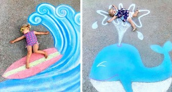 Una donna disegna scene da fiaba con i gessetti colorati: al loro interno le figlie vivono tante avventure fantasiose