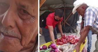 An old street vendor cries with happiness when a group of young people buy all his products to support him