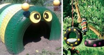 12 trovate simpaticissime per riciclare vecchi pneumatici e creare tanti giochi con cui far divertire i bambini