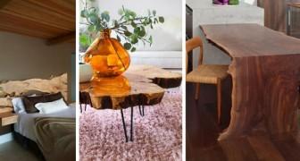 14 trovate belle e originali per arredare ogni stanza di casa usando elementi di legno grezzo