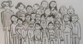 In casa per il lockdown, un bimbo di 9 anni disegna tutti i suoi compagni di classe in posa: gli manca la scuola
