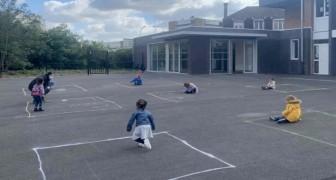Francia, los niños vuelven a la escuela pero deben jugar en cuadrados marcados por tiza: las fotos nos tocan el corazón