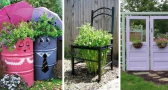 13 trovate originali per riciclare vecchi oggetti e decorare il giardino in modo unico
