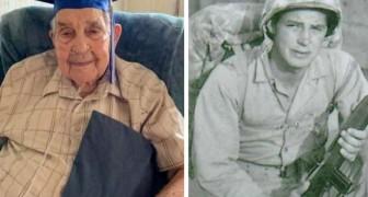 Op 95-jarige leeftijd studeerde hij eindelijk af: hij moest zijn studies staken om te vechten in de Tweede Wereldoorlog