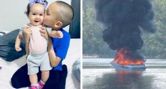 Un garçon de 7 ans sauve la vie de ses petites cousines après une explosion soudaine sur une barque