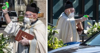 Ein Priester schießt Weihwasser, um die Gläubigen zu segnen: eine lustige Idee, die die soziale Distanzierung respektiert