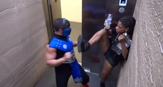 There is a warrior in the elevator, people's reactions are hilarious!!