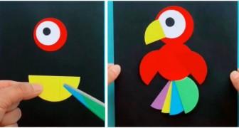 Il tutorial facilissimo per realizzare un coloratissimo pappagallo di carta, ideale per i bambini