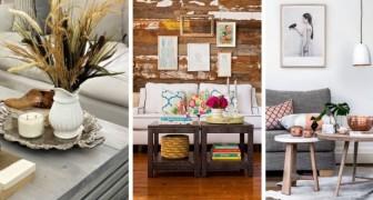 18 soluzioni originali per decorare il tavolino del salotto e arredare abbinando stili e colori