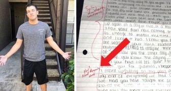 His fiancée betrays him and writes a letter of apology: he sends it back with lots of corrections in red