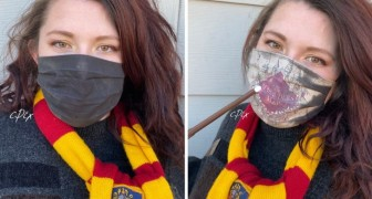 Cette artiste a créé un masque magique sur le thème de Harry Potter : en le portant, la carte de Poudlard apparaît