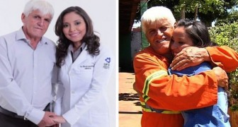 En sophämtare som är änkling gråter av glädje när hans dotter tar sin läkarexamen och tackar honom för alla hans uppoffringar