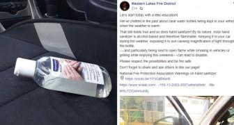 Eine Feuerwehr-Einheit empfiehlt, Flaschen mit Desinfektionsgel nicht im Auto in der Sonne stehen zu lassen