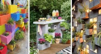 12 idee brillanti e super-economiche per arredare il giardino utilizzando i blocchi di cemento