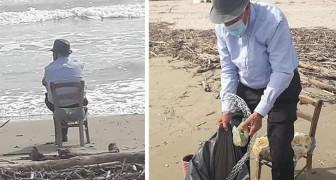Pasquale, il nonno plastic free di 93 anni che ripulisce la spiaggia da cui ama guardare il mare