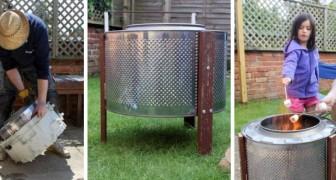 L'idea super-ingegnosa per riciclare il cestello della lavatrice trasformandolo in un caminetto da esterno