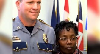 Een 56-jarige grootmoeder redt het leven van een politieagent door op de schouders te springen van de man die hem aanviel