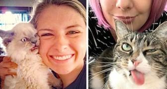 15 katten die gewoon met rust wilden worden gelaten, zonder met hun baasjes op de foto te gaan