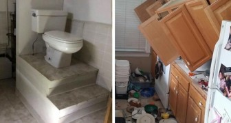 Een jongen fotografeert de meest absurde renovaties die hij zag voordat hij de huizen binnenging: de een nog gekker dan de ander