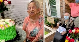 En mormor i karantän får 100 rosor när hon fyller 100 år från alla sina familjemedlemmar