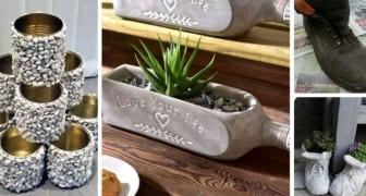 6 idee super-creative per riciclare barattoli, scarponi e bottiglie trasformandoli in originali fioriere di cemento