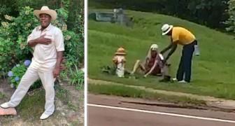 Un uomo si toglie scarpe e calzini e li dona a un senzatetto in difficoltà incontrato per strada