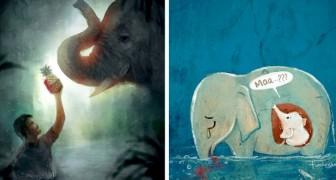 Des artistes du monde entier rendent hommage à l'éléphante enceinte tuée après avoir mangé un ananas rempli de pétards