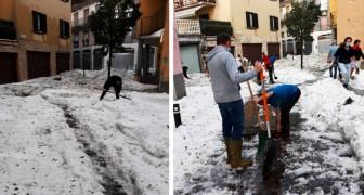 Gli angeli della grandine: a Nembro i ragazzi del paese aiutano a liberare le strade fino a notte fonda