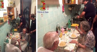 Police get a call about two elderly people crying; the officers on duty end up making them dinner