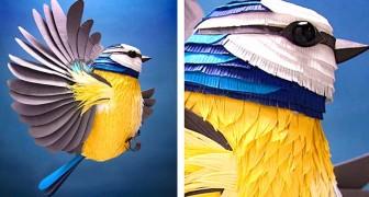Una ragazza crea delle coloratissime sculture 3D con centinaia di pezzi di carta ritagliati a mano