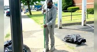 Um garoto limpou as ruas de seu bairro por 10 horas seguidas: recompensado com um carro e uma bolsa de estudos