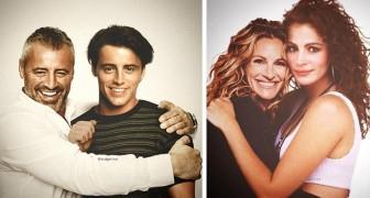 """Beroemdheden """"vereeuwigd"""" naast zichzelf toen ze jong waren: 20 fotomontages die zo realistisch zijn dat ze echt lijken"""
