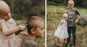 O irmão mais velho decide raspar os cabelos para apoiar sua irmã de 3 anos na luta contra o câncer