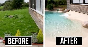 Un'azienda realizza piscine con spiagge di sabbia vera: la soluzione perfetta per trascorrere le vacanze a casa