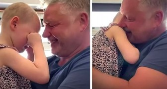 A 4-year-old girl fighting cancer manages to hug her father after 7 weeks of distancing