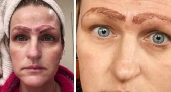 Una mujer se encontraba con 4 cejas después de un desastroso tratamiento de tatuaje semi-permanente