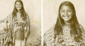 Dieses Foto aus dem Jahr 1894 zeigt eine indianische Frau mit einem wunderschönen Lächeln: eine Rarität für Fotos dieser Zeit