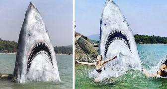 Un artista trasforma una roccia in uno squalo con la bocca spalancata, rendendola un'attrazione turistica