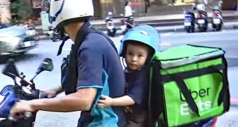 During the day, a bricklayer, in the evening a rider: a single father takes his 3-year-old son to work to be close to him