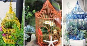 10 spunti irresistibili per creare fantastiche composizioni floreali dentro a vecchie gabbiette per uccelli