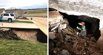 USA, ein riesiger Abgrund öffnet sich im Boden: in seinem Inneren eine alte, verlassene Mine