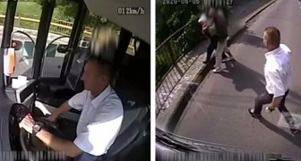 A bus driver sees a man who is robbing an old woman: he stops the vehicle and gives chase
