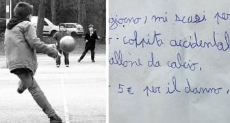 Un bambino rompe il vaso del vicino giocando a pallone: lascia un biglietto di scuse e 5 euro per i danni